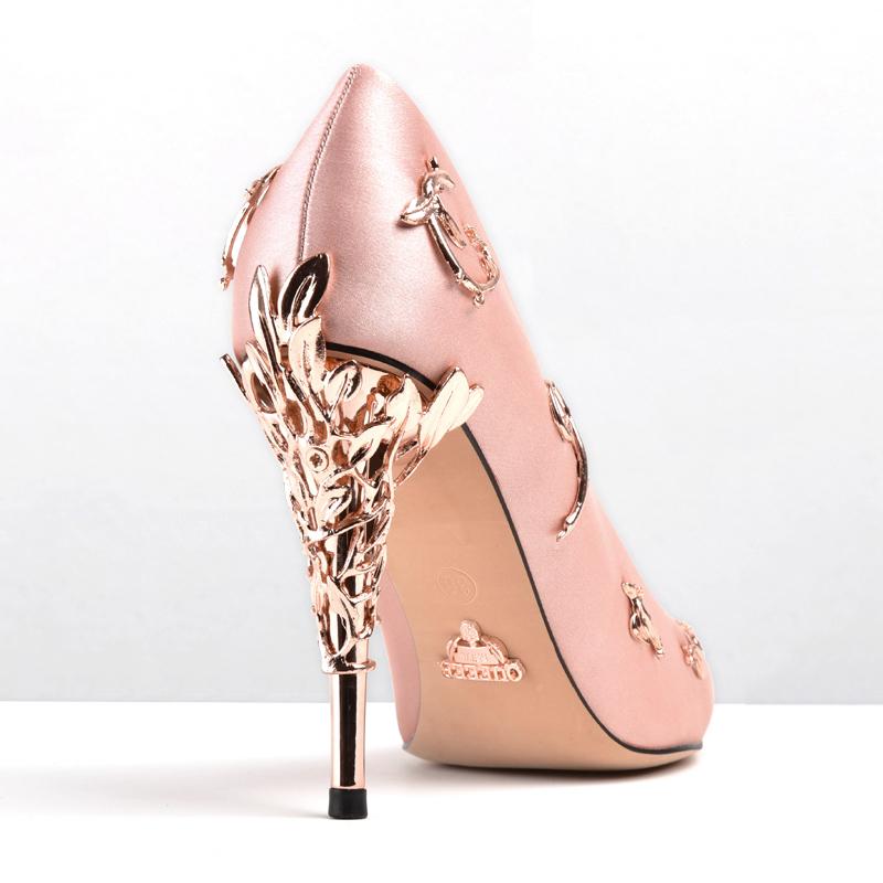 尖头高跟鞋春季新款女士高跟鞋细跟走秀粉色新娘鞋婚