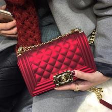 【红色礼遇】果冻包手提包锁扣小包菱格链条包新娘包结婚包红色包