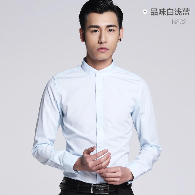 立领衬衫男