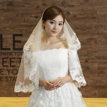 新娘头纱韩式蕾丝头纱长软短款结婚婚纱头纱新款拖尾韩版头饰白女