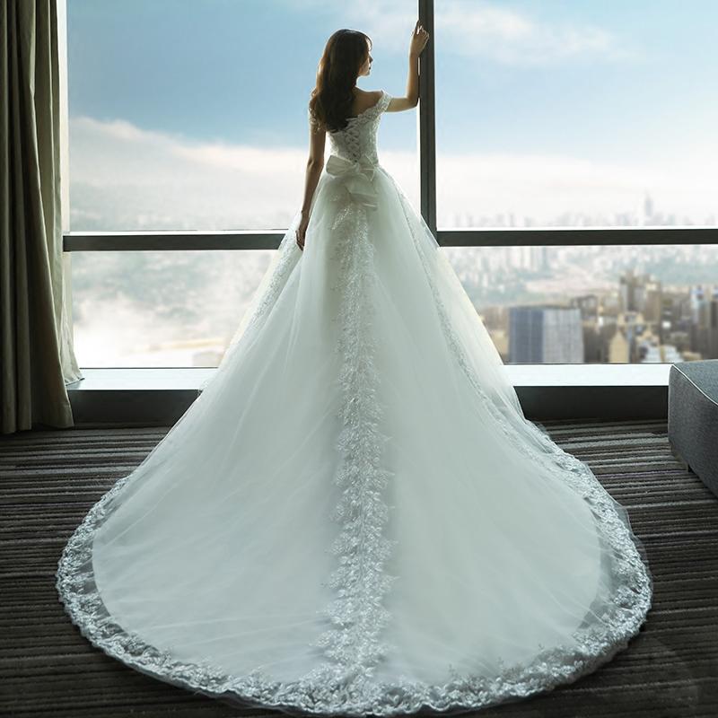 一字肩婚纱礼服新娘齐地性感婚礼大长拖尾梦幻公主春季新款