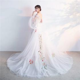 新款长款花仙子宴会白色聚会时尚韩版婚纱小拖尾