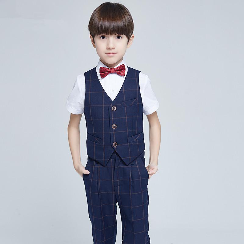 儿童礼服男童西装马甲套装花童服装