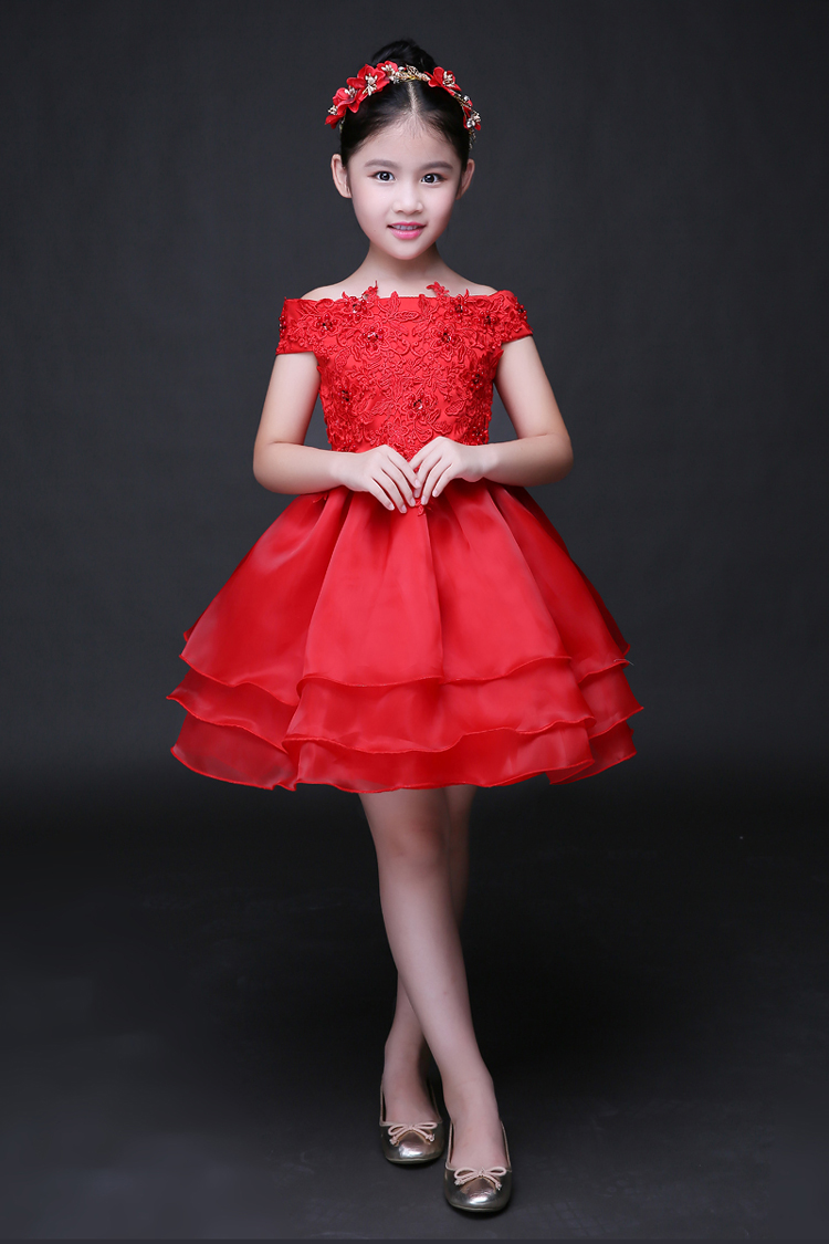 礼服裙女童公主裙蓬蓬裙红色蕾丝花童演出服连衣裙夏