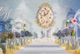 【浮光跃金 】浪漫天蓝系《婉尔》婚礼鲜花布置