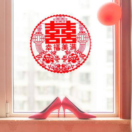 【20張】窗花剪紙喜字靜電貼