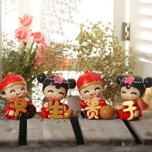 中式婚礼卡通情侣公仔摆件