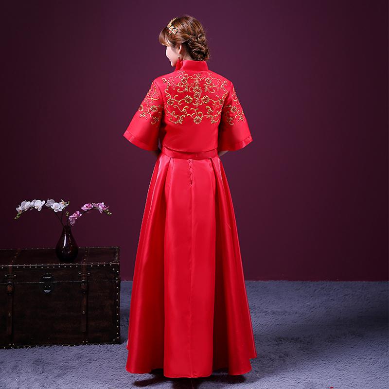 秀禾服新款中式婚纱礼服红色旗袍长款龙凤褂新娘结婚图片