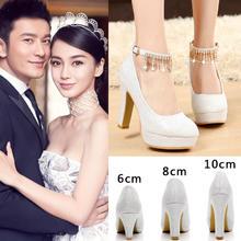 白色婚纱鞋银白色新娘鞋粗跟伴娘鞋表演出鞋模特鞋主持鞋女高跟鞋
