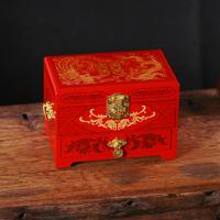 菲寻 创意结婚礼物平遥推光漆器木质首饰盒中式复古带镜子梳妆盒