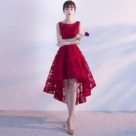 晚礼服2018新款前短后长宴会时尚甜美红色新娘敬酒服韩版短款