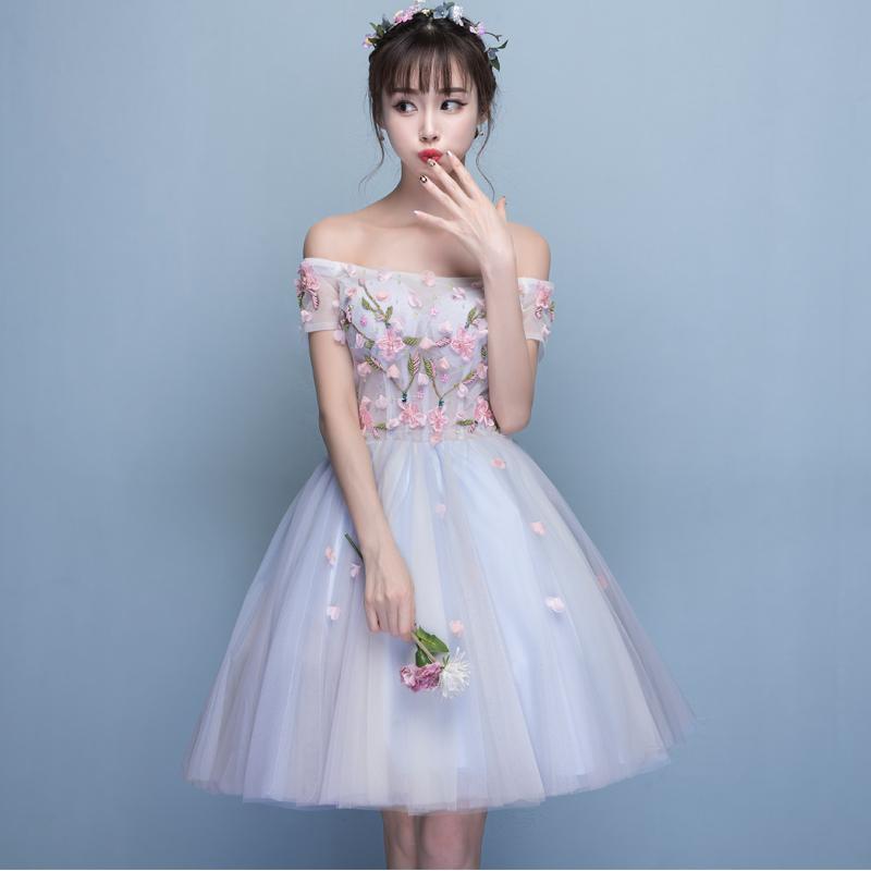 一字肩宴会甜美伴娘服生日聚会小礼服连衣裙