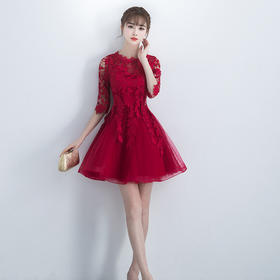 新款新娘回门敬酒服韩式结婚礼服裙酒红色 小礼服266