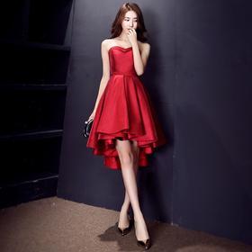 敬酒服新娘 新款夏季短款抹胸结婚礼服韩式酒红色