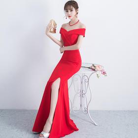 新款晚礼服红色时尚性感宴会主持人礼服鱼尾268