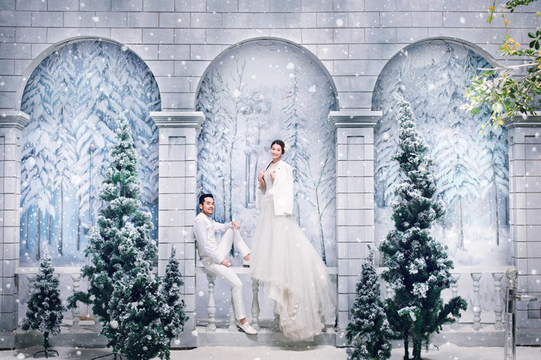 济南韩式内景唯美婚纱照图片