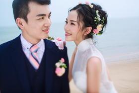 青岛唯美小清新沙滩海景婚纱照