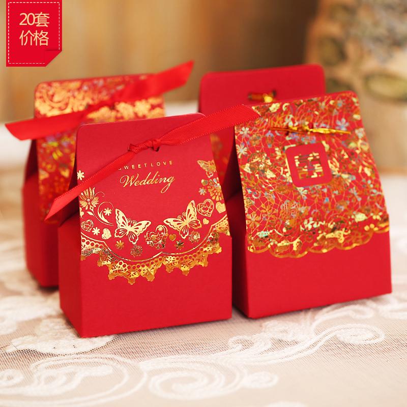 菲寻中国风烫金喜糖盒子婚礼创意喜糖袋结婚庆用品个性糖果包装盒