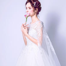 送三件套2018新款韩版一字肩新娘蕾丝披纱梦幻拖尾奢华婚纱