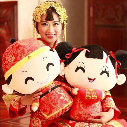 【一对】中式娘子相公金童玉女压床娃娃
