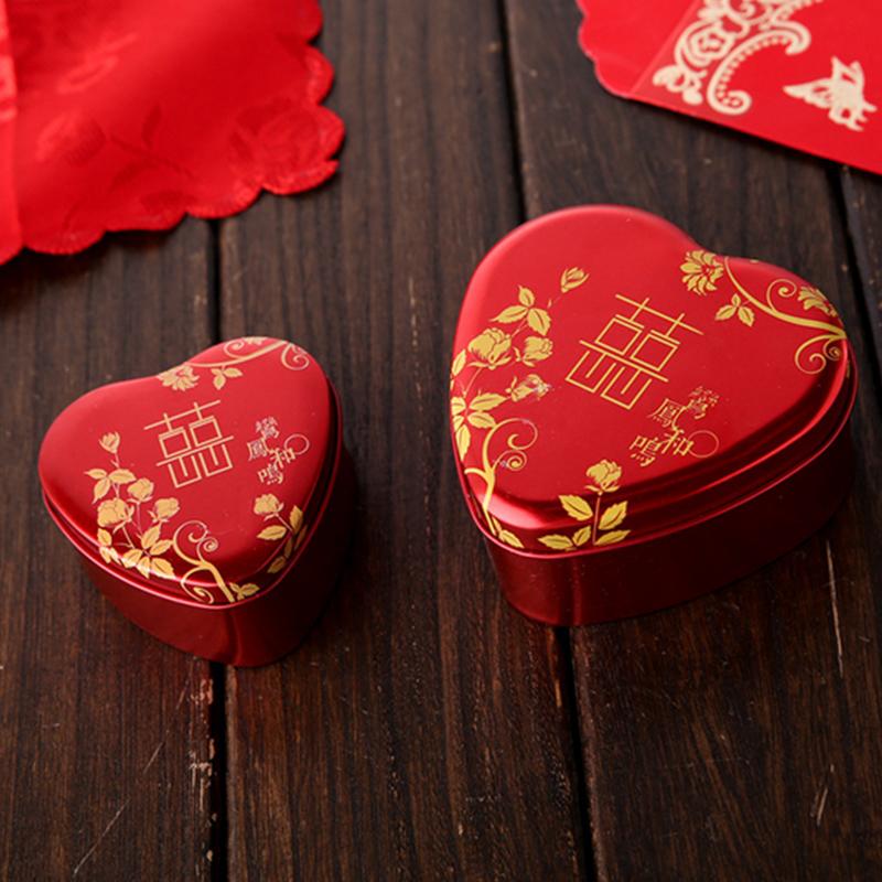 结婚喜糖盒子婚庆糖果喜糖包装盒红色心形中国风马口