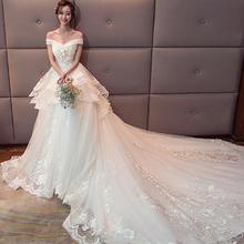 2018新款韩式一字肩公主新娘结婚显瘦大码花朵奢华69