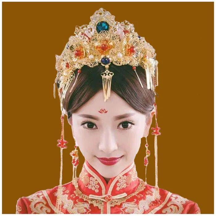 新娘中式金色流苏头饰古装结婚发饰礼服配饰秀禾服凤冠饰品