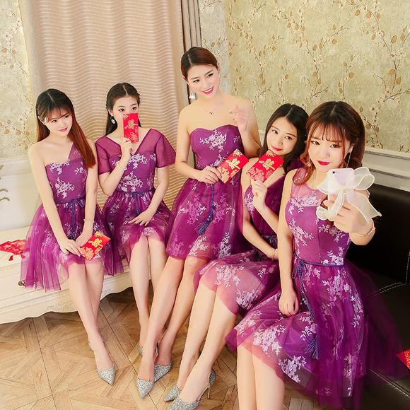 伴娘服短款新款夏季伴娘团小礼服姐妹裙毕业宴会晚礼服显瘦女
