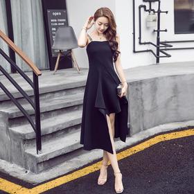新款回门服时尚性感无袖黑色吊带裙修身显瘦不规则中长款连衣裙