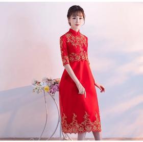 新娘敬酒服短款 新款中式晚礼服高腰孕妇大码中长款