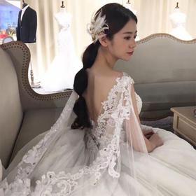 奢华拖尾,显瘦!新款新娘结婚韩版一字肩长拖尾奢华宫廷