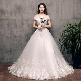 唯美一字肩!新款奢华齐地新娘结婚韩版显瘦宫廷齐地公主群