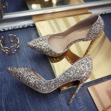 刘诗诗同款尖头亮片高跟鞋 银金两色侧面镂空婚鞋