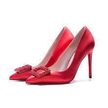红色绸缎尖头婚鞋  方形水钻装饰 3种跟高可选