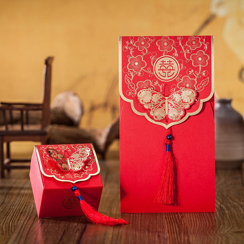 【韶华蝶梦】结婚礼宴酒席桌喜糖盒 伴手礼盒 红色中国风流苏