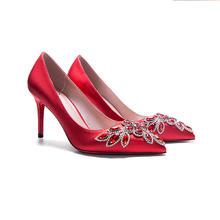红色水钻宝石婚鞋 细跟浅口绸缎新娘鞋 3种跟高可选