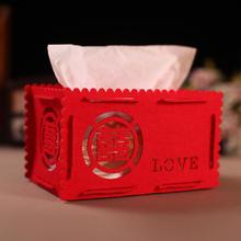 39元包邮无纺布纸巾盒 糖果盒子 红色婚庆喜庆收纳盒珠宝盒