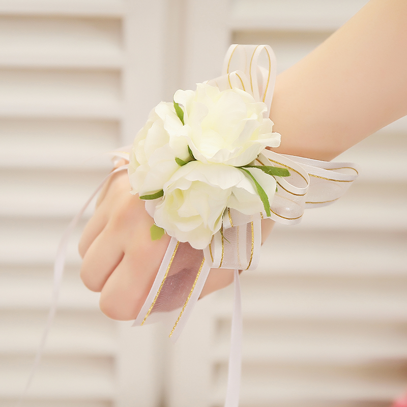 婚礼结婚婚庆用品新娘伴娘手腕花姐妹手花 韩式蕾丝头花新人道具
