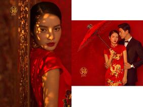 国粹来袭中式内景婚纱照