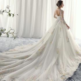 长袖婚纱礼服 春季新娘结婚一字肩长拖尾彩纱奢华283