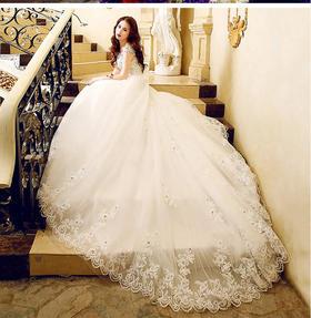 【女神婚纱】新娘婚纱礼服一字肩拖尾婚纱韩版蕾丝285