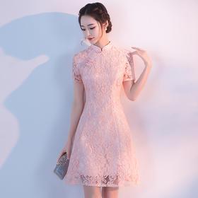 少女旗袍 新款时尚粉色改良蕾丝红色敬酒服新娘短款连衣裙