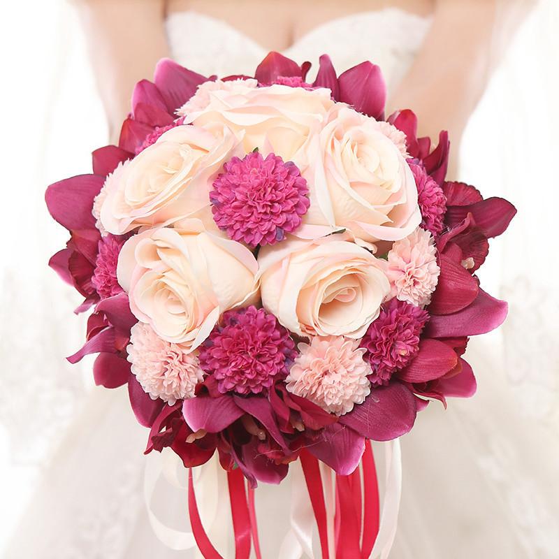结婚庆用品中式婚礼新娘花球手捧花花束韩式仿真花伴娘道具图片