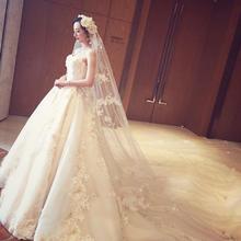 新款新娘结婚抹胸长拖尾婚纱礼服韩式简约蕾丝公主宫廷齐地女