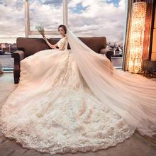 热销爆款!婚纱新娘一字肩韩式修身显瘦时尚简约奢华长拖尾