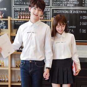 情侣装春秋新款韩版纯色长袖衬衫男女结婚证件照领证衬衣