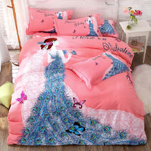 西式粉色纯棉3D印花四件套