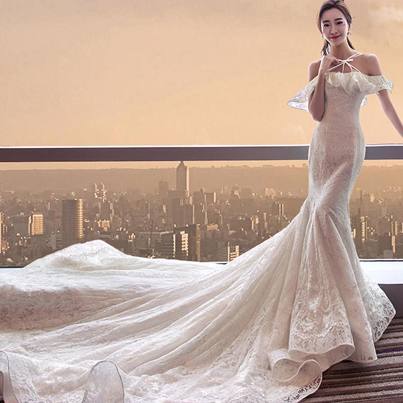 新款显瘦白色礼服新娘大拖尾欧美韩长拖尾一字肩婚纱鱼尾418图片