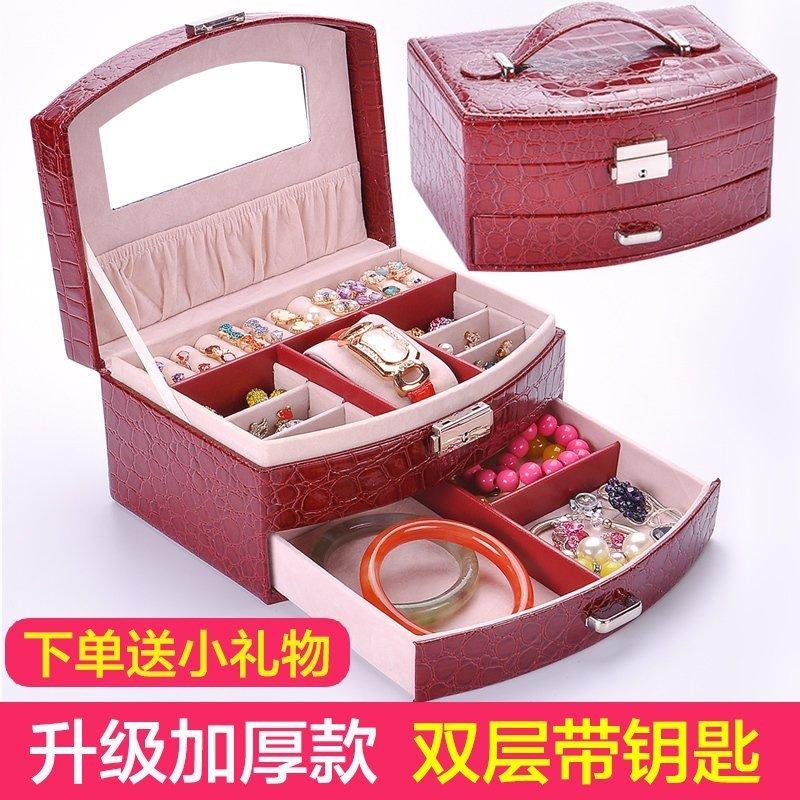 首饰盒公主欧式韩国木质带锁饰品盒耳钉盒双层手饰品