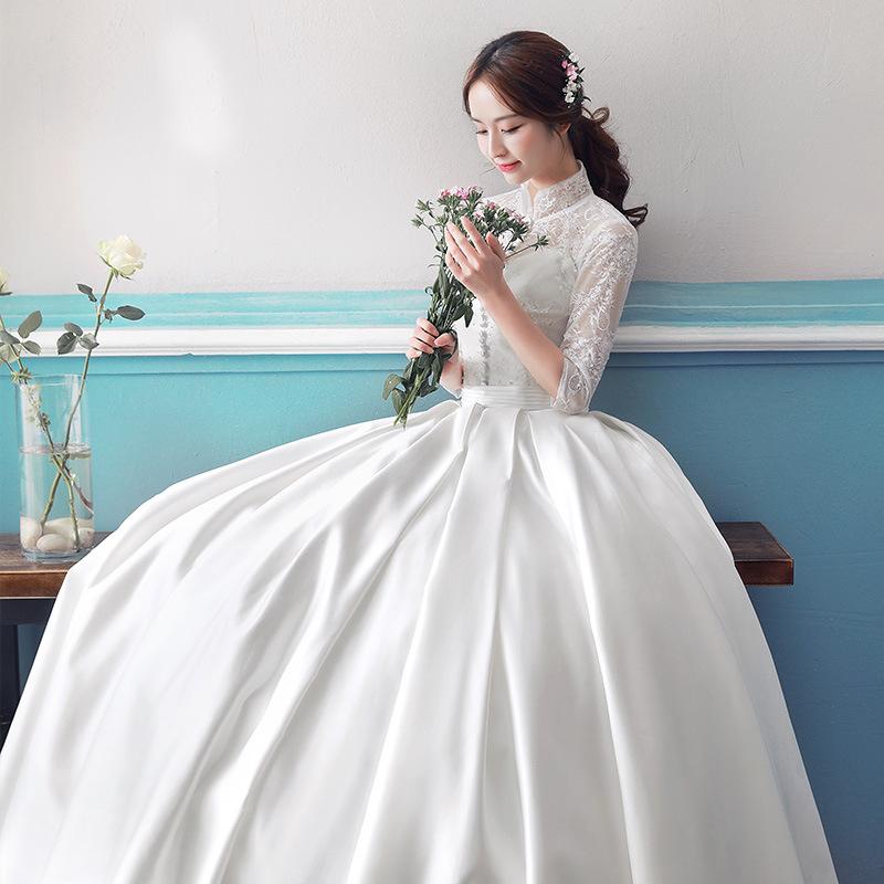 婚纱礼服2017新款中式公主梦幻拖尾长袖简约复古缎面